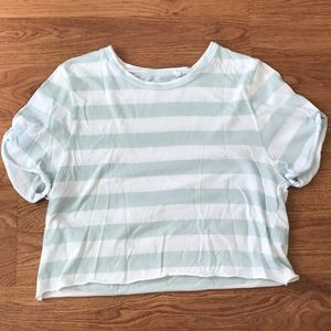 PacSun Blue and White Striped Cropped Tee